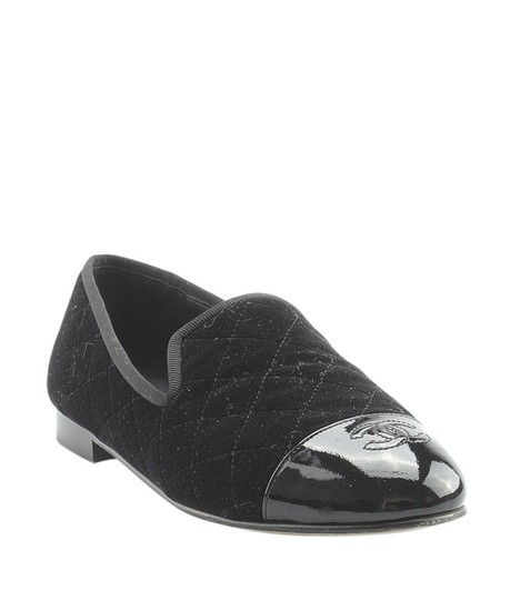 Chanel Velvet Loafers Quilted black Flats Image 2