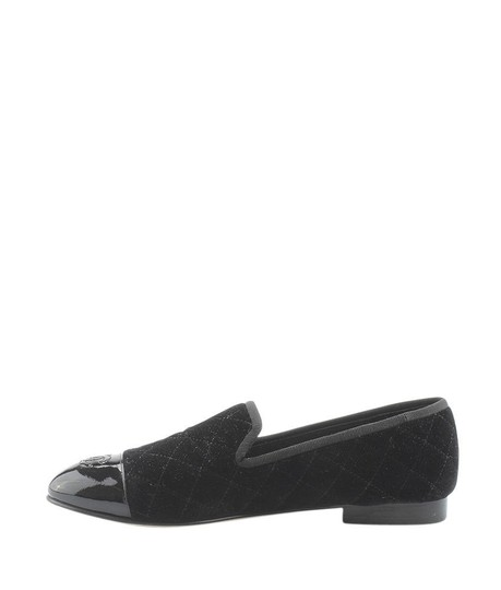 Chanel Velvet Loafers Quilted black Flats Image 3