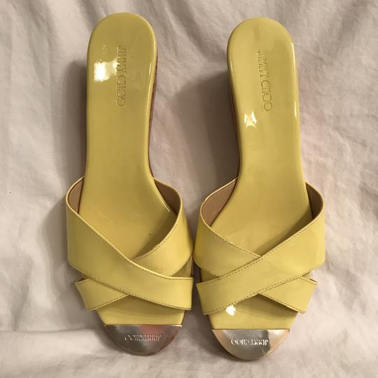 Jimmy Choo Wedge Patent Leather Platform Leather Cork Yellow Beige Sandals Image 1