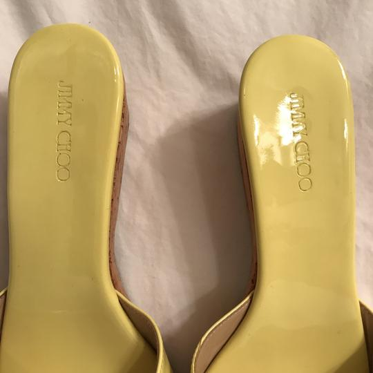 Jimmy Choo Wedge Patent Leather Platform Leather Cork Yellow Beige Sandals Image 2