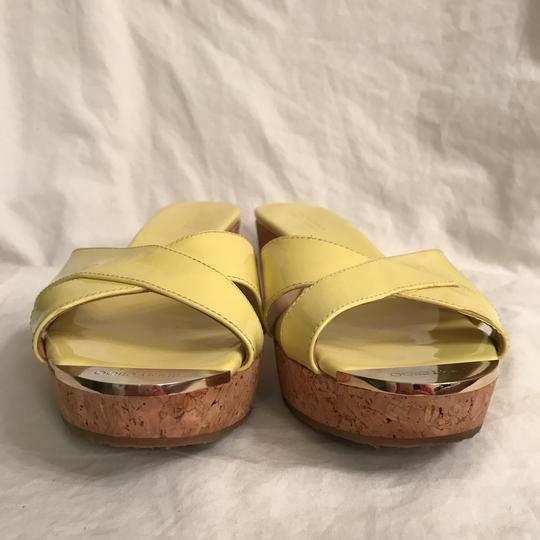 Jimmy Choo Wedge Patent Leather Platform Leather Cork Yellow Beige Sandals Image 3