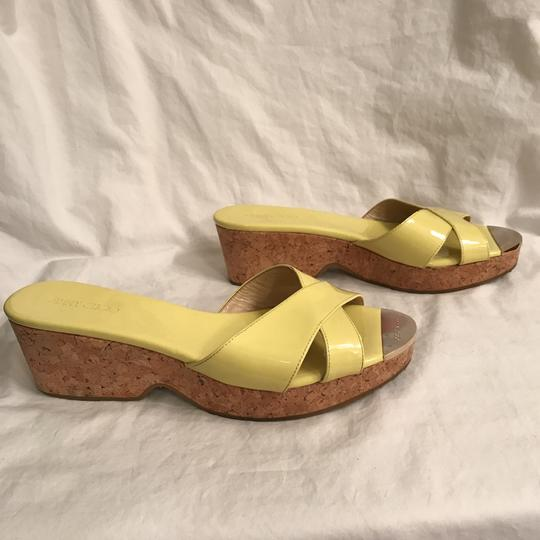 Jimmy Choo Wedge Patent Leather Platform Leather Cork Yellow Beige Sandals Image 5
