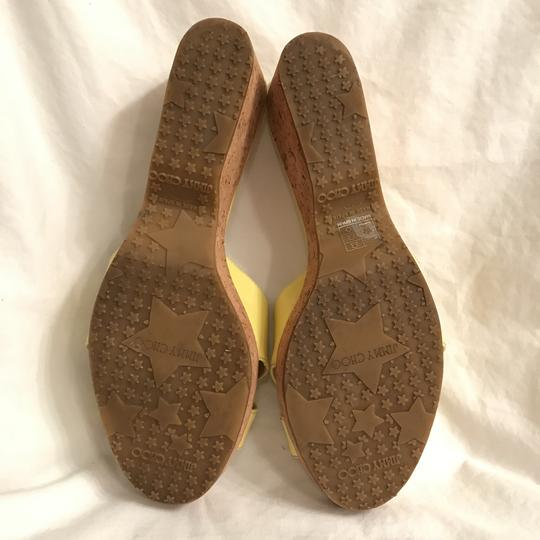 Jimmy Choo Wedge Patent Leather Platform Leather Cork Yellow Beige Sandals Image 7