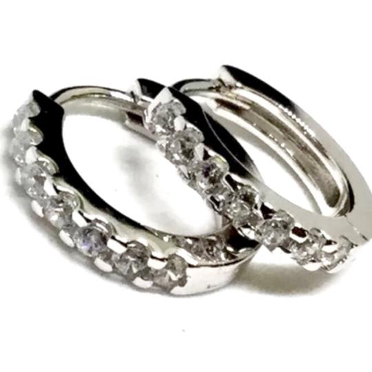 Other Sterling Silver, Cubic Zirconia Hoops Image 4