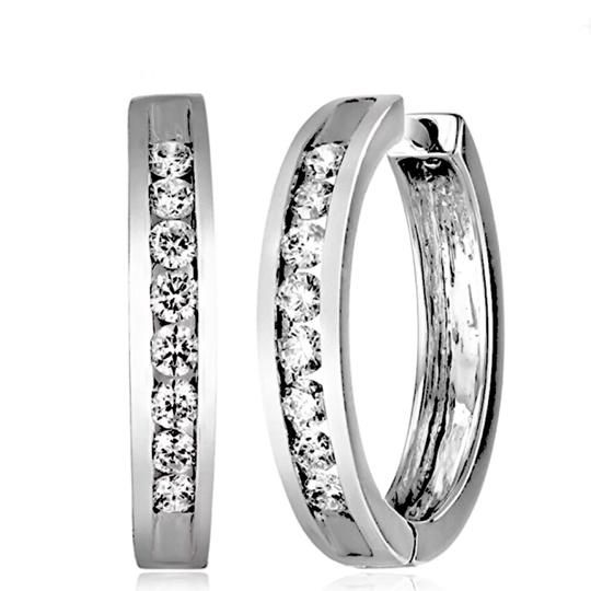 Other Sterling Silver, Cubic Zirconia Hoops Image 5