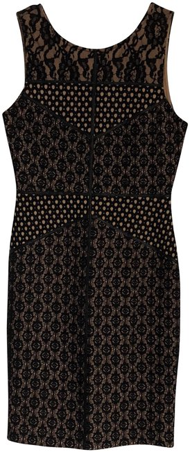 Item - Black / Nude Illusion Lace Bodycon Mid-length Night Out Dress Size 0 (XS)