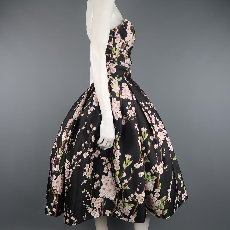 d00b2073 Dolce&Gabbana Black Cherry Blossom Print Silk Bustier Mid-length Cocktail  Dress Size 8 (M) - Tradesy
