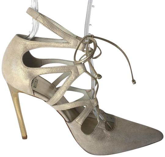 Stuart Weitzman Suede Lace Up Store Display Never Worn Sexy Shimmer Beige Pumps Image 0
