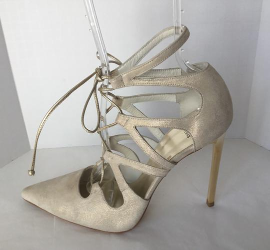 Stuart Weitzman Suede Lace Up Store Display Never Worn Sexy Shimmer Beige Pumps Image 1