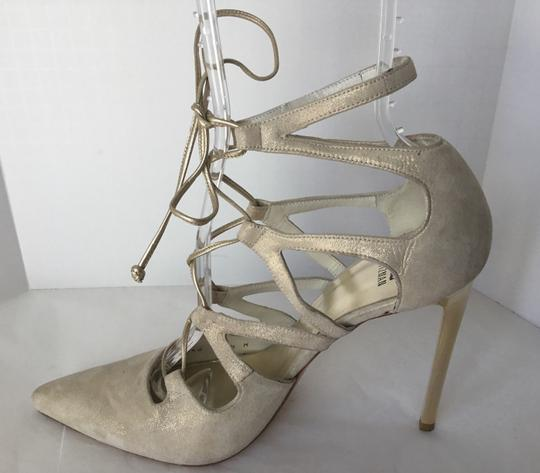 Stuart Weitzman Suede Lace Up Store Display Never Worn Sexy Shimmer Beige Pumps Image 2