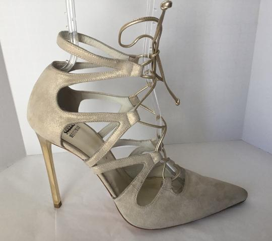 Stuart Weitzman Suede Lace Up Store Display Never Worn Sexy Shimmer Beige Pumps Image 3