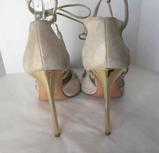Stuart Weitzman Suede Lace Up Store Display Never Worn Sexy Shimmer Beige Pumps Image 4