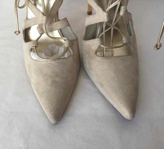 Stuart Weitzman Suede Lace Up Store Display Never Worn Sexy Shimmer Beige Pumps Image 5