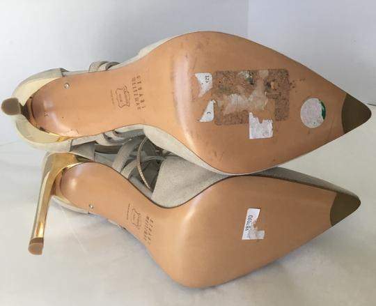 Stuart Weitzman Suede Lace Up Store Display Never Worn Sexy Shimmer Beige Pumps Image 6