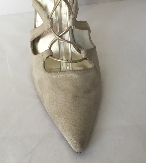 Stuart Weitzman Suede Lace Up Store Display Never Worn Sexy Shimmer Beige Pumps Image 7