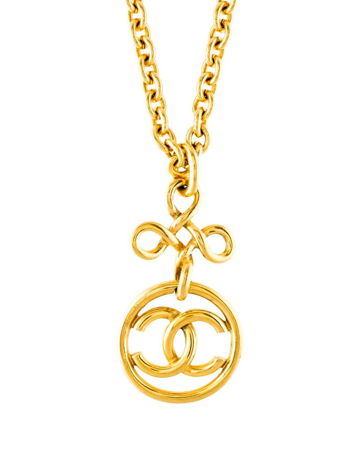 87a5e5889dc811 Chanel VINTAGE CHANEL GOLD CC LOGO CHAIN CROSS PENDANT NECKLACE BOX  AUTHENTIC Image 0 ...