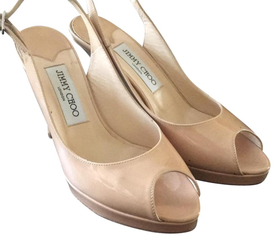 be28766b7cf Jimmy Choo Nude Peep Toe Slingbacks Pumps Size EU 37 (Approx. US 7 ...