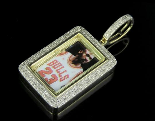 Jewelry Unlimited PREVNEXT 10K Yellow Gold Diamond Square Photo Engrave Pendant 0.50 Ct Image 2