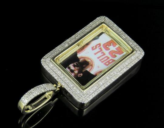 Jewelry Unlimited PREVNEXT 10K Yellow Gold Diamond Square Photo Engrave Pendant 0.50 Ct Image 4