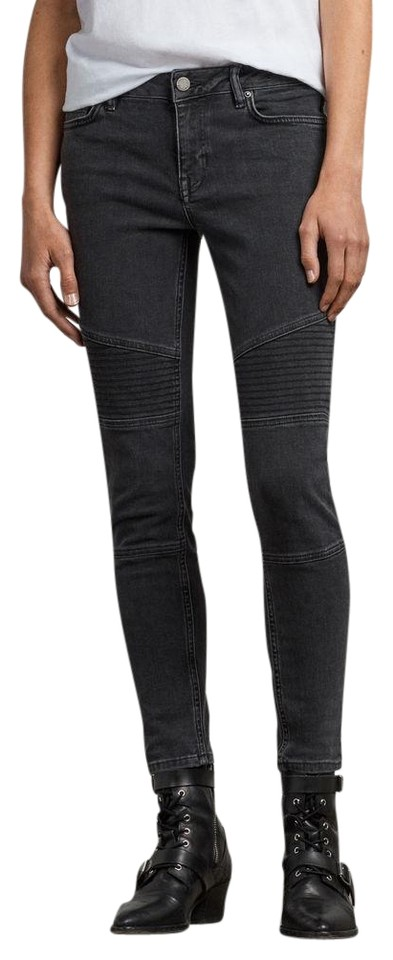 half price sneakers low cost AllSaints Washed Black Dark Rinse Biker Ankle Skinny Jeans Size 24 (0, XS)  53% off retail