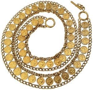 Chanel RARE VINTAGE CHANEL '97A GOLD PLATED COIN BELT