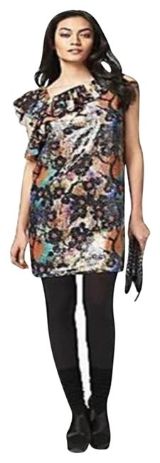Item - Multicolor Dvf Amora Sequin Embellished Ruffle Shoulder Cherry Blossom Short Night Out Dress Size 0 (XS)