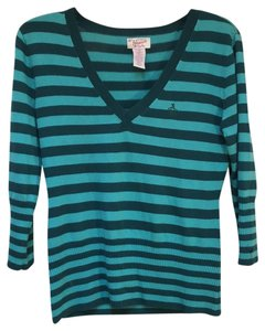 Original Penguin by Munsingwear V-neck Striped Silk Wool Sweater