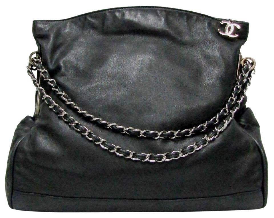 4376717e58c78a Chanel Ultimate Soft Smooth Cc Logo Ch Black Lambskin Leather Hobo ...
