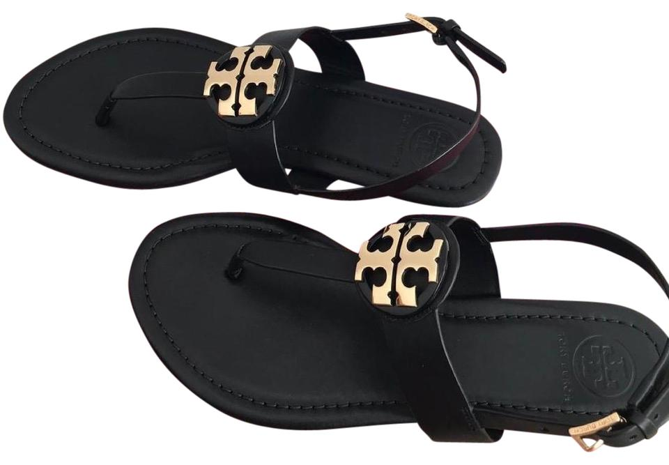 0181ca3c67f4 Tory Burch Black   Gold     Bryce Flat Sandals. Size  US 9.5 Regular (M ...