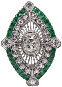 Other New 925 Silver Emerald Green and White Sapphire Ring