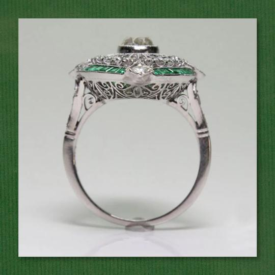 Other New 925 Silver Emerald Green and White Sapphire Ring Image 2