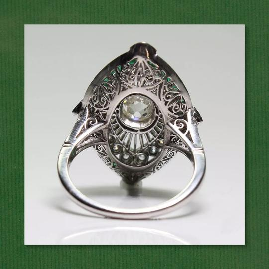 Other New 925 Silver Emerald Green and White Sapphire Ring Image 4