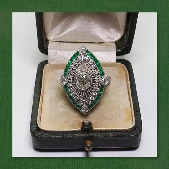 Other New 925 Silver Emerald Green and White Sapphire Ring Image 5