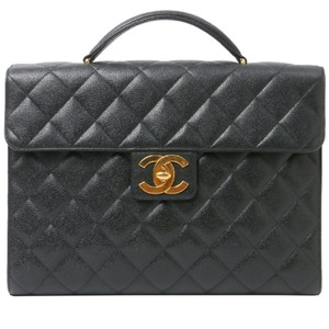 Chanel Vintage Briefcase Caviar Leather Satchel in Black