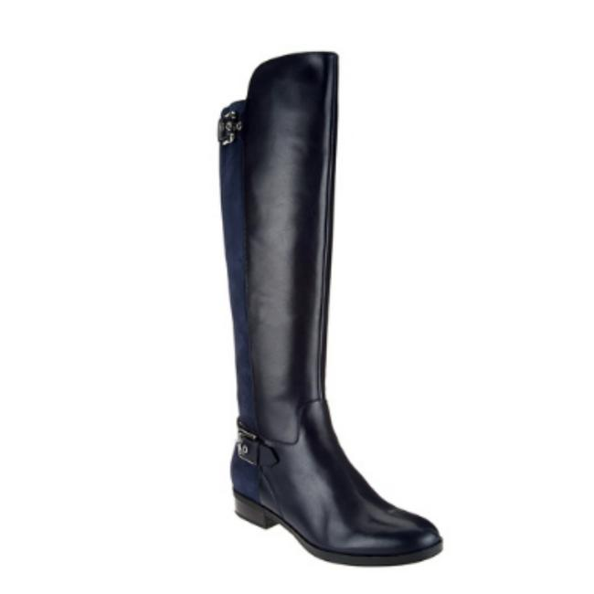 Item - Navy Medium Calf Tall Shaft Leather Damsel Boots/Booties Size US 7.5 Wide (C, D)