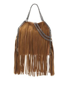 Stella McCartney Fringe Faux Leather Chain Tote in Tan