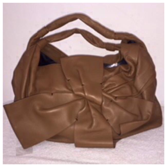 Valentino Nappa Leather Large Bow Brown Hobo Bag Valentino Nappa Leather Large Bow Brown Hobo Bag Image 1