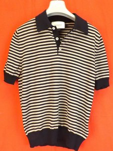 Gucci Dark Navy Blue/Beige Bluette Cotton Striped Cashmere Button Polo 411737 Shirt