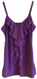 White House | Black Market Ruffle Cut-out Drape Stretchy Embroidered Top Purple