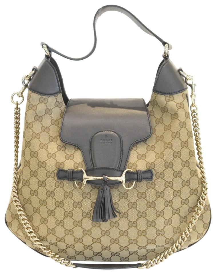 8fe12aa7ee75 Gucci Emily Gg Chain Brown Canvas Hobo Bag - Tradesy