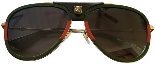 441c628084c gucci green red gold womens aviator leather trim sunglasses 39% off retail.  TRADESY