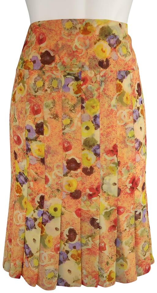 4117433f23 Chanel Orange Floral Print Silk Chiffon Pleated Skirt Size 10 (M, 31 ...