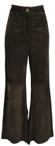Valentino Sheath Bell Slit Flair High Rise Flare Pants Brown