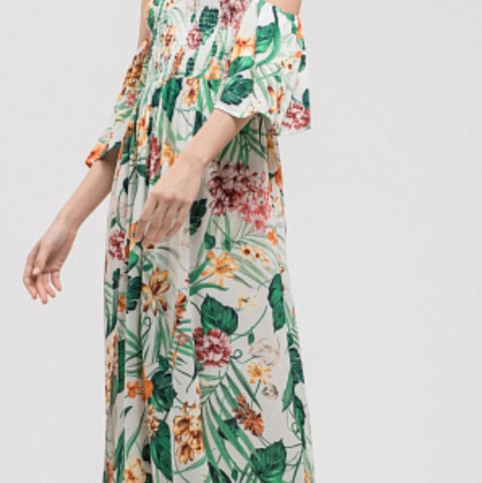 ccbbe6ddd05 Blu Pepper Multi Floral Tropical Print Off The Shoulder Long Casual ...