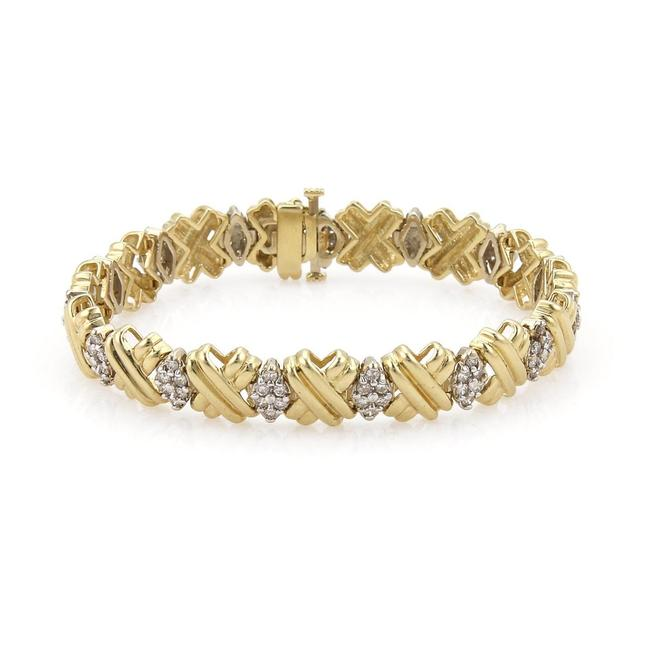 #55789 Vintage 3.00 Carats Diamond 14k Two Tone Gold X Links Fancy Bracelet #55789 Vintage 3.00 Carats Diamond 14k Two Tone Gold X Links Fancy Bracelet Image 1