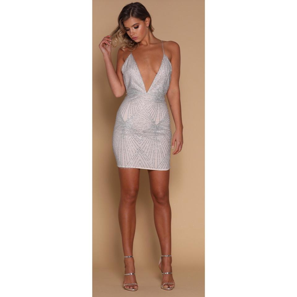 5a29b3eaca65 Silver Kayda Silver Glitter Plunge Neck Party Short Cocktail Dress ...