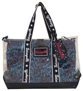 Betsey Johnson Tote in clear outer, blue and purple lining