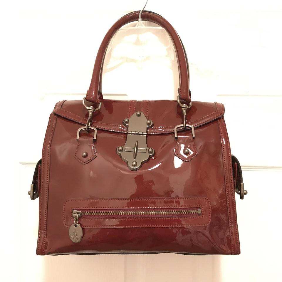 Tracy Reese Purse Handbag Shoulder Tote Leather Satchel In Red Gunmetal