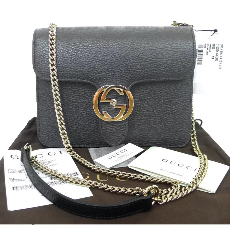 f3b8c49861cd Gucci Iconic Gg Interlocking Chain Black Leather Shoulder Bag