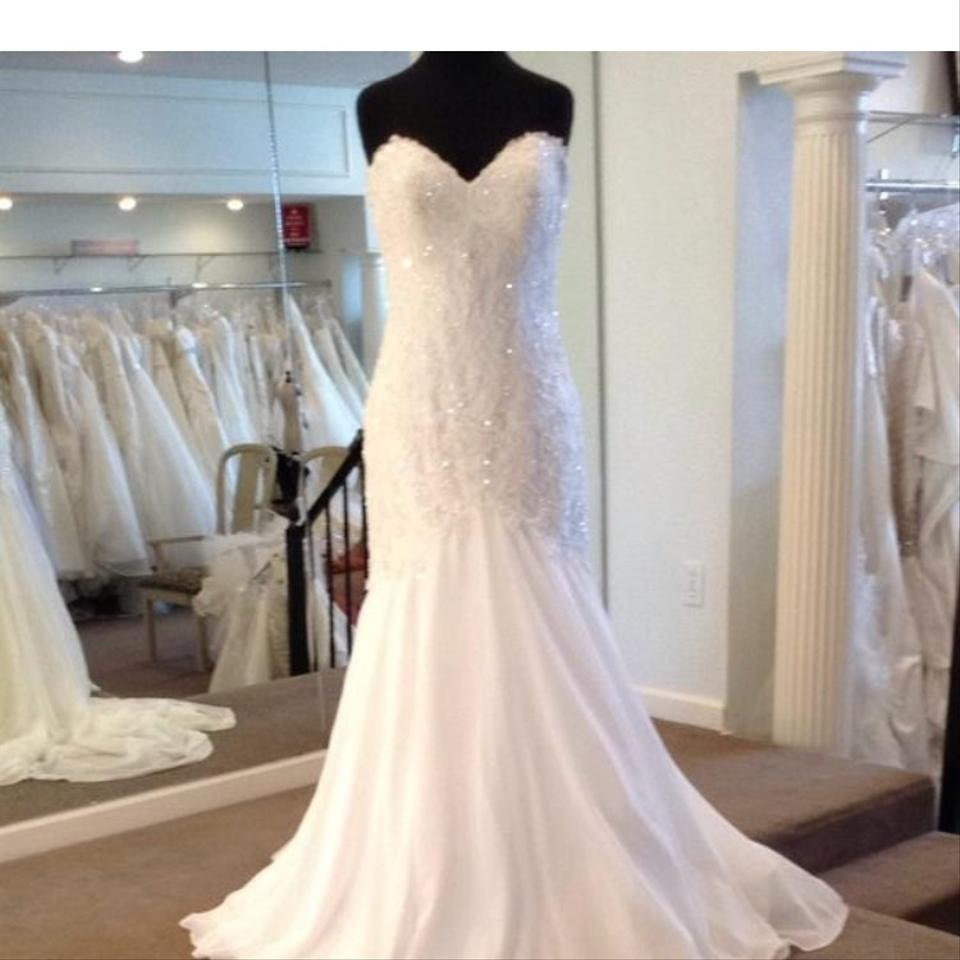 Maggie Sottero White Organza With Pearl And Diamond Detail Quincy 42n805zu Traditional Wedding Dress Size 2 Xs 55 Off Retail